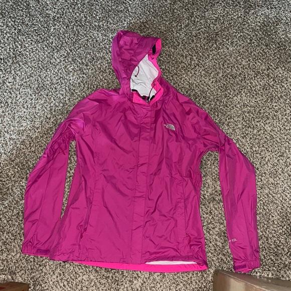 NWOT North Face pink rain jacket, Sz M